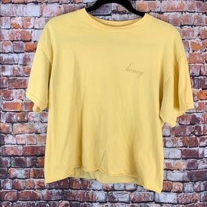 """Pacsun Yellow """"Honey"""" Cropped Tee One Size"""